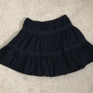 Black crinkle cotton skirt